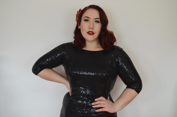 Black Sequin Ava Wiggle Pencil Dress by Zoe Vine