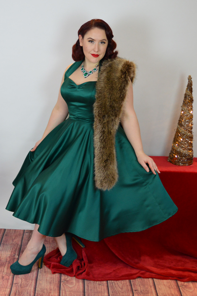 Vivien of Holloway Forest Green Duchess 1950s Halter Neck Circle Dress