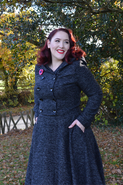 Collectif Sparkle Tweed Rosie Skirt Heather Cropped Hooded Jacket