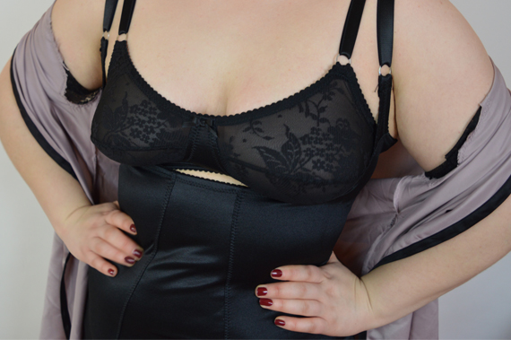 House of Satin Black Foundation Lace Classic Bra and Braless Corselette