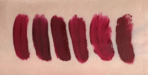 Swatches Jefree Star Unicorn Blood liquid lipstick natural light shade comparison