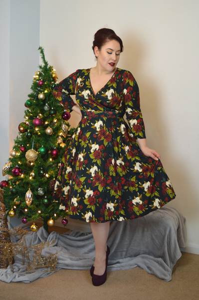 Lady V London Lady Voluptuous Lyra Dress limited edition Christmas Floral Print