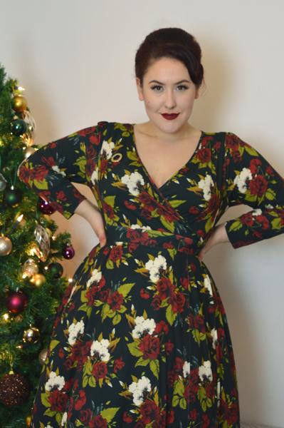 Lady V London Lady Voluptuous Lyra Dress limited edition Christmas Floral Print