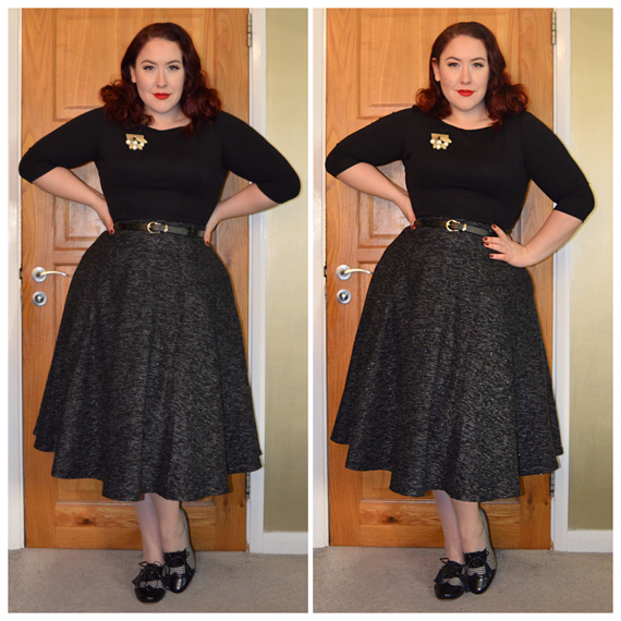 Black Sabrina top from Deadly is the Female, Rosie Sparkle Tweed skirt by Collectif, Luxulite brooch, Banned Moss Garden Hound Heels from Bluebanana.com