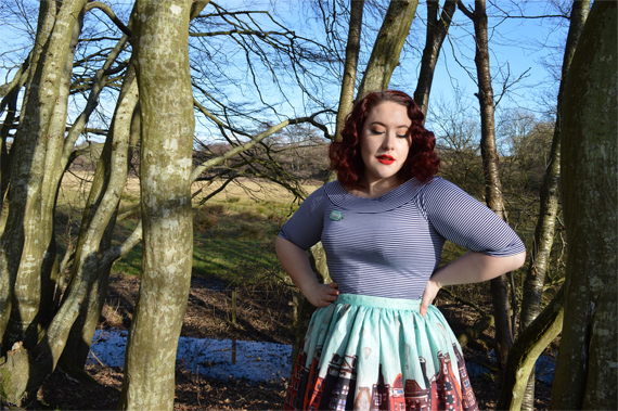 Miss Fortune UK Boardwalk Amsterdam Reflections in Watercolour Skirt