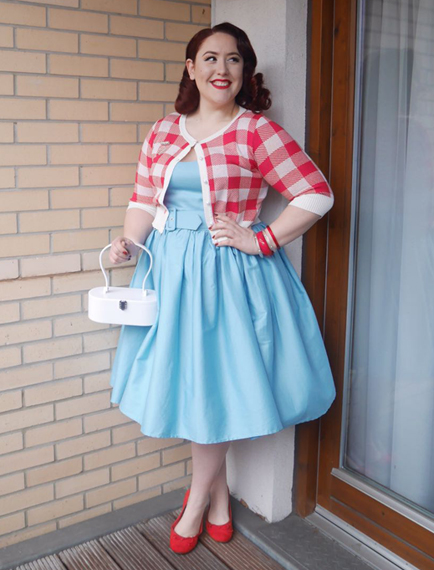 Blue Jade dress and Red Lucy Gingham Cardigan by Collectif, White Vintage Inspired bag by Lola Von Rose, Assorted Splendette bangles & Clear brooch, old F&F flats