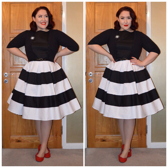Black & White Anna dress by Dolly & Dotty, old Primark shrug, Ali Express brooch, eBay belt, old F&F flats