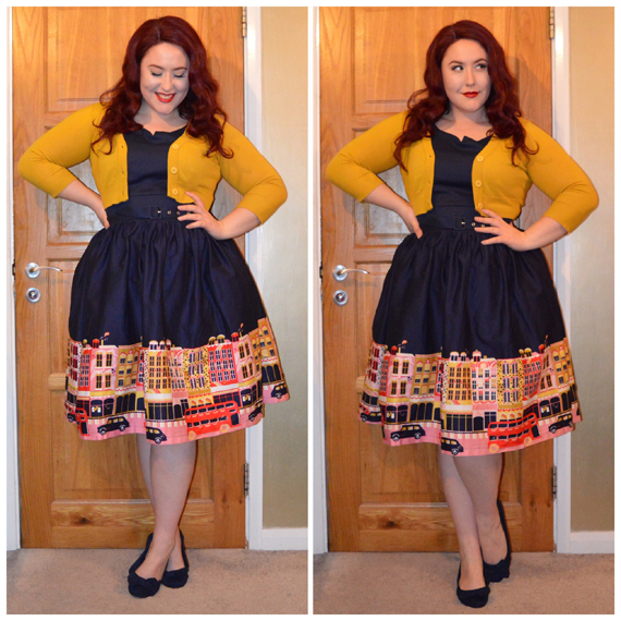 Carnaby dress by Lindy Bop, Honey Tootsie Cropped Cardigan from Doll Me Up, old Primark flats