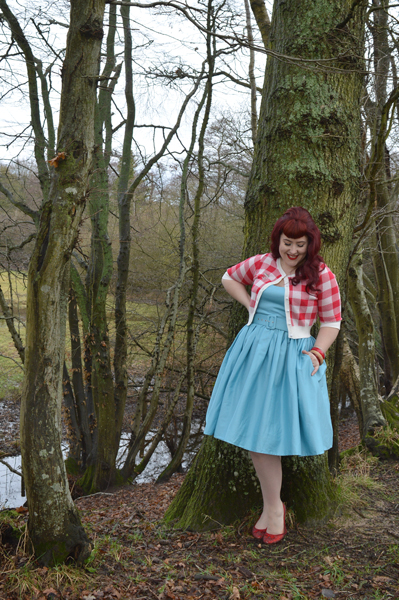 Collectif Blue Jade swing dress Red gingham Lucy Cardigan