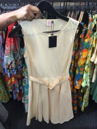 Lemon yellow pinstripe fit and flare dress