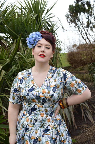 Lady V London Lady Voluptuous Estella Tropical Toucan Print dress