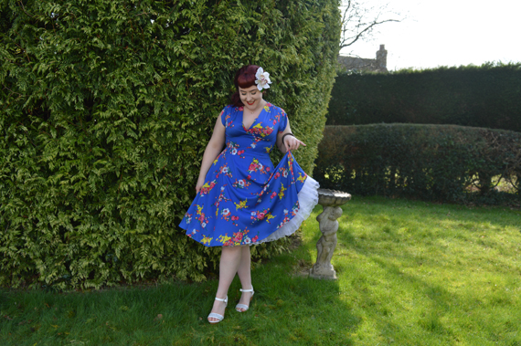 Voodoo Vixen Amber Electric Blue Floral Dress