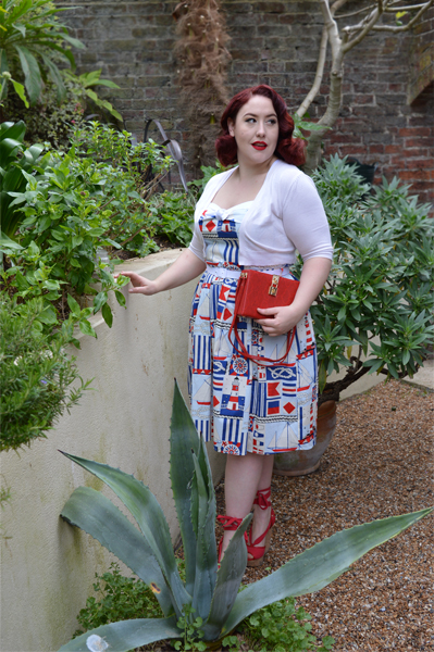 Blue Banana Snakeskin red clutch bag Hell Bunny Lighthouse 50s dress