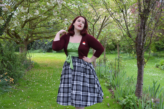 Louella Deville Green Sandy Wrap Top brooch Bettie plaid Tartan skirt