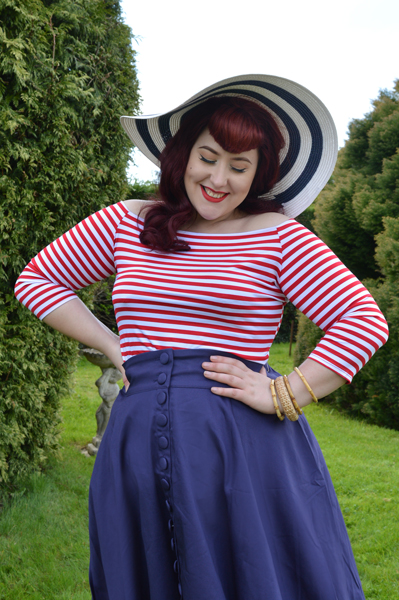Dolly & Dotty Gloria stripe top Erin high waisted flared skirt