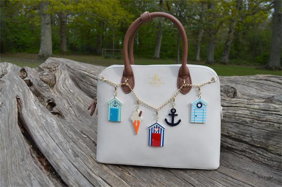 Vendula London Maisy off white tan bag Beside the Seaside charm set