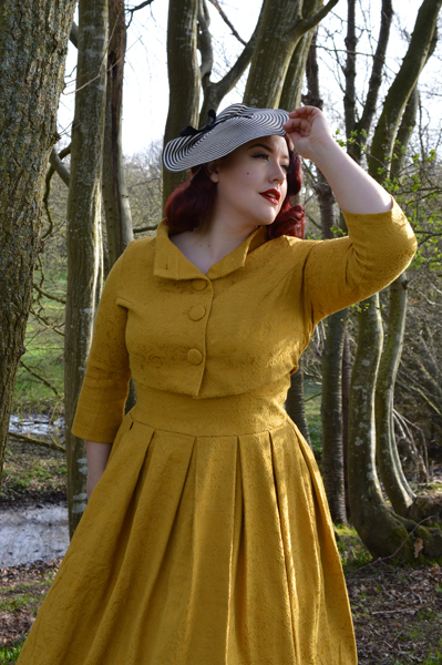 22d57b0e412c Lindy Bop Mustard Marianne Swing dress jacket set ...