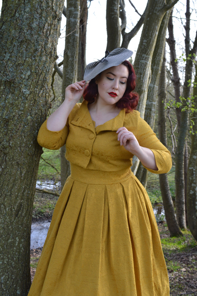 Lindy Bop Mustard Marianne Swing dress jacket set