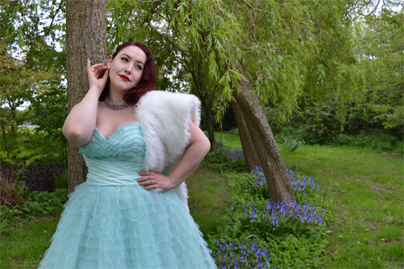 Unique Vintage Mint cupcake 1950s tulle swing prom dress plus size
