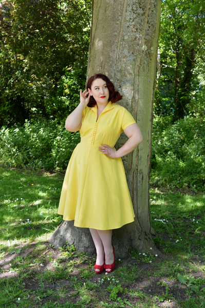 Pretty Retro 40s Style Hostess Dress Yellow