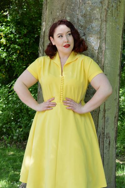 Pretty Retro 40s Style Hostess Dress Yellow
