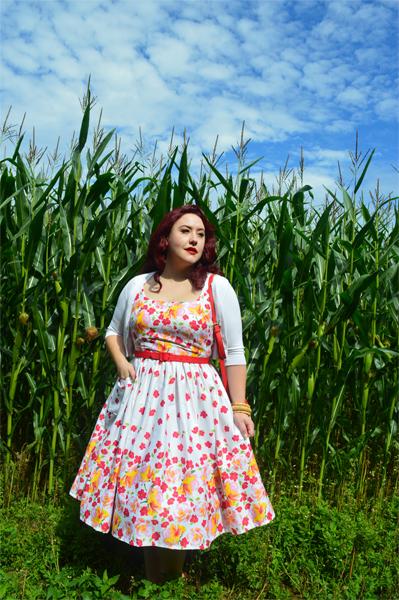 Miss Fortune Rose print border Sweet pea dress