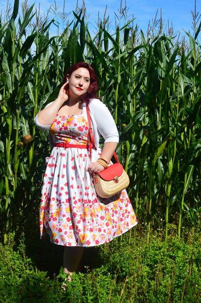 Miss Fortune Rose print border Sweet pea dress