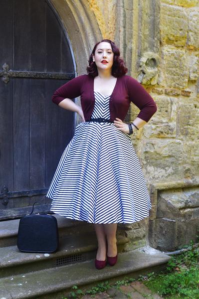 black white stripe Vixen by Micheline Pitt Dollface dress Doll Me Up