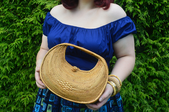 Ellen and James Half Moon woven handmade Basket bag ata grass Miss Amy May