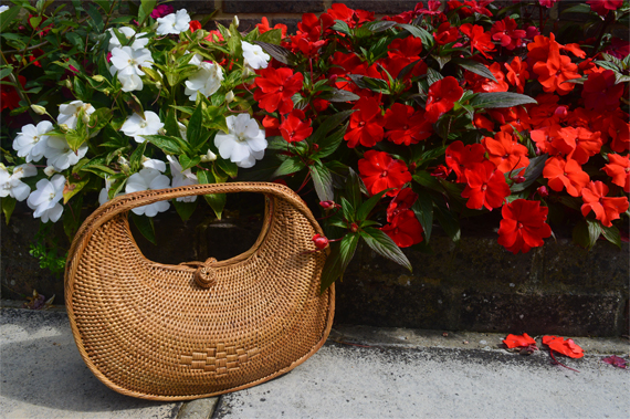 Ellen and James Half Moon woven handmade Basket bag ata grass Miss Amy May