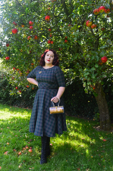 Hell Bunny Peebles 50s tartan dress kooki de lou lucite bag reproduction