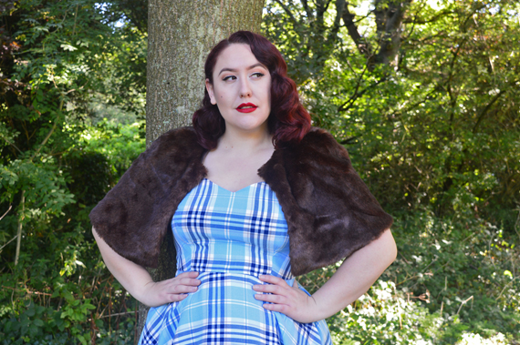 Hell Bunny blue AW17 Aberdeen tartan dress plus size