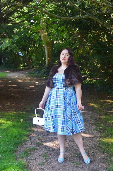 Hell Bunny blue AW17 Aberdeen tartan dress plus size