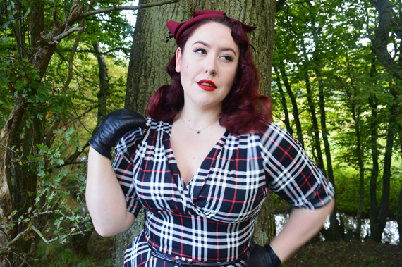 Unique Vintage black white plaid Delores dress plus size Burgundy wool round Fascinator