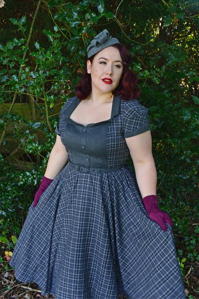 Voodoo Vixen Ella Grey Tartan Flare Swing dress 40s
