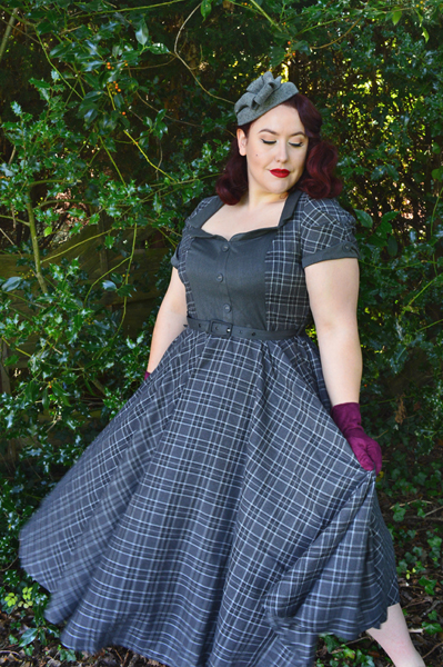 Voodoo Vixen Ella Grey Tartan Flare Swing dress 40s