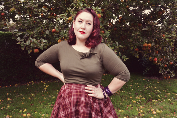 Heart of Haute Full circle skirt cognac plaid olive Lily top