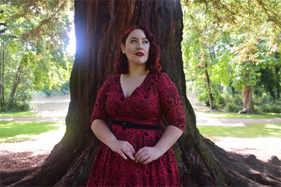 Hell Bunny sherwood 50s dress plus size burgundy red