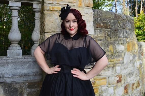 Unique Vintage Black Luna dress capelet cape set Deadly is the Female plus size