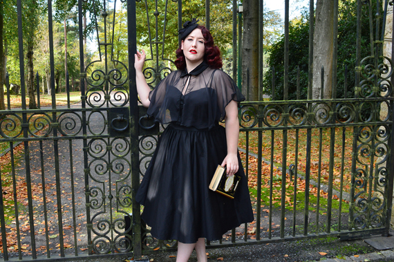 Unique Vintage Black Luna dress capelet cape set Deadly is the Female plus size