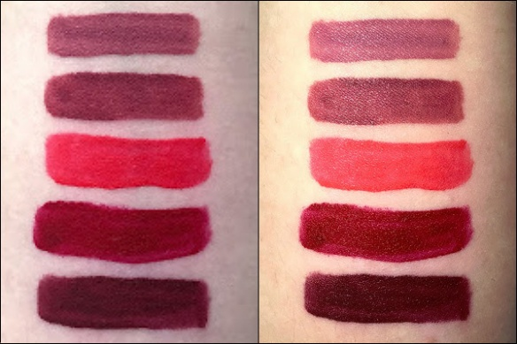 Maybelline Super Stay Matte Ink liquid lipstick swatches Lover, Ruler, Heroine, Pioneer, Voyager
