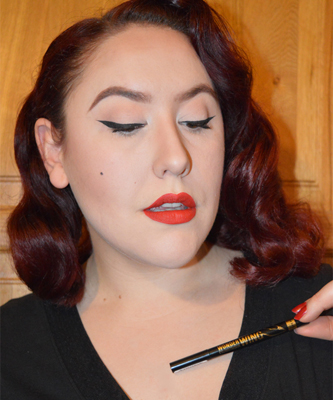 Rimmel London's Wonder Wing liner pen and StayMatte liquid lipstick in Firestarter review swatches