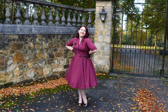 Collectif Clothing burgundy Zoe dress Lulu Hun Diana Crocodile heels