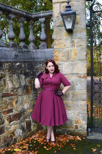 Collectif Clothing burgundy Zoe dress Lulu Hun Diana Crocodile heels