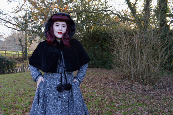 Collectif Riley coat Paige Hooded velvet cape