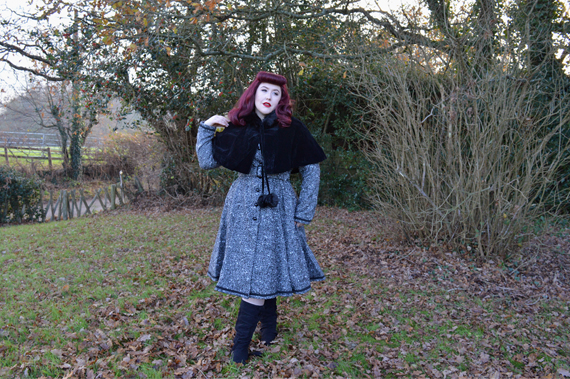 Collectif Riley coat Paige Hooded velvet cape