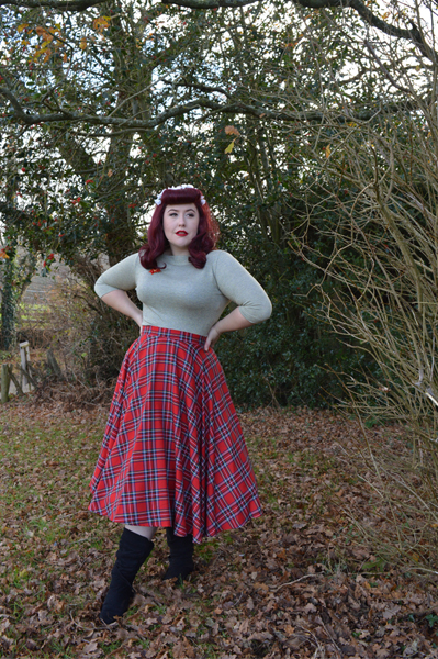 Vivien of Holloway Slash neck top Jenny cardigan 1950s red tartan circle skirt