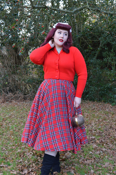 Vivien of Holloway Slash neck top Jenny cardigan 1950s red tartan circle skirt