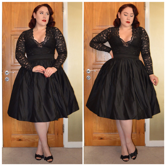 Lucia Bodysuit by Boohoo.com, black Jasmine skirt by Collectif, black Joyce heels by Lindy Bop