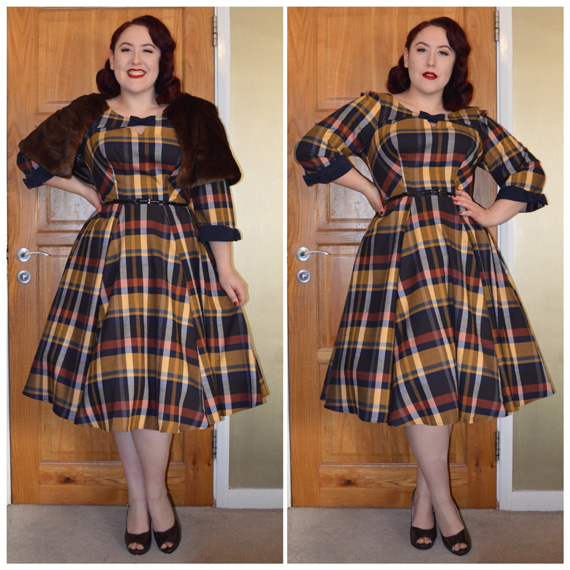 Faux fur cape by Collectif, Basil dress by Miss Candyfloss, Diana heels by Lulu Hun, old eBay belt